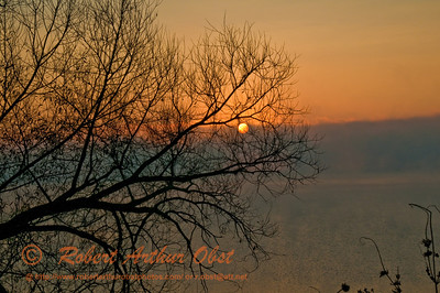 Hiker's view of orange sunrise through mist and fog over Lake Mendota at Governor Nelson State Park (USA WI Waunakee)