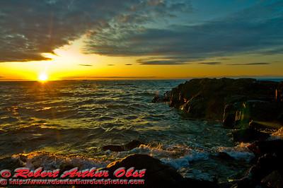 Dazzling Lake Superior Copper Harbor Michigan Sunset (USA MI Copper Harbor)