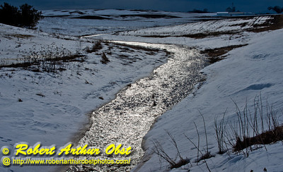Icy snow melt feeding bright rivulets over snowy Middleton farmlands and watershed of Dam Creek near Pheasant Branch Road during early spring (USA WI Middleton; Obst FAV Photos 2013 Nikon D800 Daily Best Obst Image 8417 )