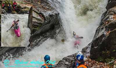 """Green River Race Narrows Extreme Wildwater - Overall 2nd place finisher - OR tied for 1st place with a time of 04:19 - Dane Jackson bib number 2 paddling a Jackson Karma Unlimited long kayak through class 5+ Gorilla The Flume and Gorilla Scream Machine rapids within the Green River Narrows"" (USA NC Saluda; Obst FAV Photos Nikon D800 Adventures in Paddlesport Whitewater Competition Images 5014 through 5035)"