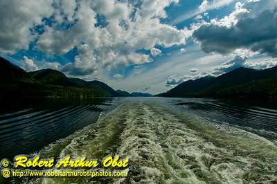 Clouds and turbulent wash behind the Holland America Zaandam ship while cruising the inside passage north of Vancouver Canada (CAN BC Inside Passage Vancouver)