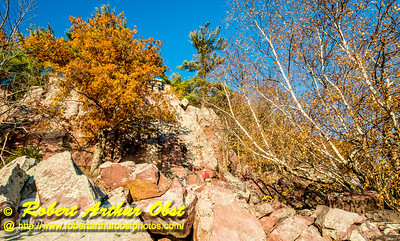 """""""Hiker's view from the Balanced Rock and Ice Age Trails of one of many east bluff rock climbing areas within Devil's Lake State Park during autumn - Images from FAV or Favorite Obst Family OUTINGS within sixty miles or 60 MI or about an hour drive of the Madison and Middleton areas within southern Wisconsin USA"""" (USA WI Baraboo; Obst FAV Photos Nikon D800 Daily Best Obst Image 4474)"""