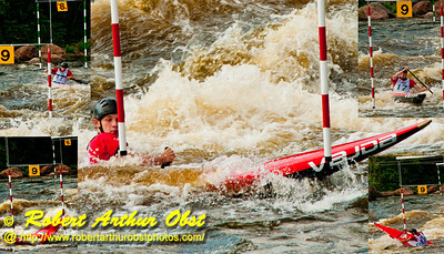 """"""" Photo collage of Russia Junior solo canoeist and World Champion Bronze Medalist in 'Canoe Single Men Team Junior' Juri Snegirev slam dunking or stuffing with a stern pirouette Gate 9 during the 2012 ICF Canoe Slalom Junior and U23 World Championships """" (USA WI Wausau)"""