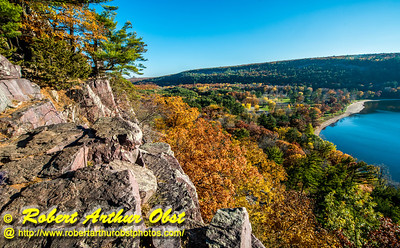 """""""Hiker's view from the east bluff Balanced Rock and Ice Age Trails of the south shore of Devils Lake within Devil's Lake State Park during autumn - Images from FAV or Favorite Obst Family OUTINGS within sixty miles or 60 MI or about an hour drive of the Madison and Middleton areas within southern Wisconsin USA"""" (USA WI Baraboo; Obst FAV Photos Nikon D800 Daily Best Obst Image 4442)"""