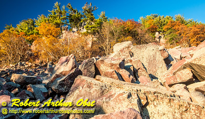 """""""Hiker's view from the Balanced Rock and Ice Age Trails of Balanced Rock and the east bluff within Devil's Lake State Park during autumn - Images from FAV or Favorite Obst Family OUTINGS within sixty miles or 60 MI or about an hour drive of the Madison and Middleton areas within southern Wisconsin USA"""" (USA WI Baraboo; Obst FAV Photos Nikon D800 Daily Best Obst Image 4484)"""