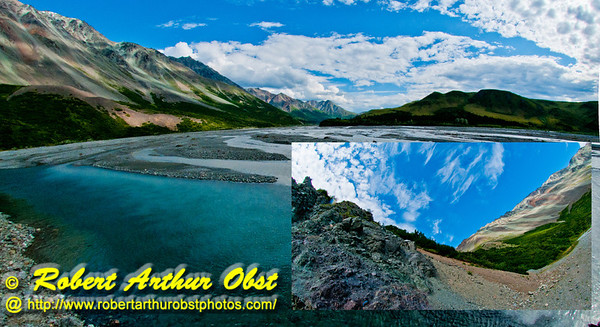 Following a Path from the Past - Blue skies over Phelan Creek and colorful Rainbow Ridge along the historical Richardson Highway or Alaska Highway 4 near the Delta River Valley and Paxson (USA Alaska Paxson; Obst FAV Photos 2011 Nikon D300 Image 0502-0503-C)