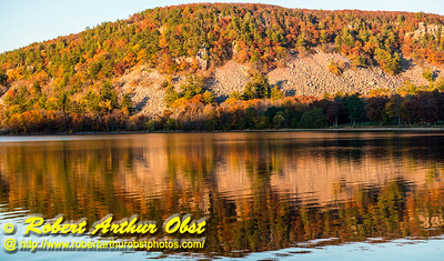 """""""Ice Age and South Shore trails hiker's view of autumn reflections over Devil's Lake within Devil's Lake State Park - Images from FAV or Favorite Obst Family OUTINGS within sixty miles or 60 MI or about an hour drive of the Madison and Middleton areas within southern Wisconsin USA"""" (USA WI Baraboo; Obst FAV Photos Nikon D800 Daily Best Obst Image 4496)"""