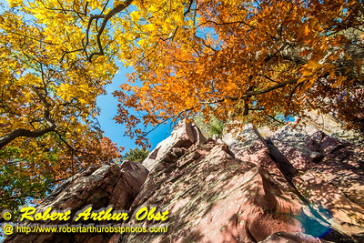 """""""Rock climber's and hiker's vertical view from the Balanced Rock and Ice Age Trails of climber on Devil's Lake State Park's east bluff during autumn - Images from FAV or Favorite Obst Family OUTINGS within sixty miles or 60 MI or about an hour drive of the Madison and Middleton areas within southern Wisconsin USA"""" (USA WI Baraboo; Obst FAV Photos Nikon D800 Daily Best Obst Image 4430)"""