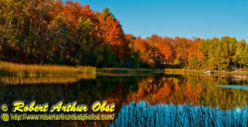 Blue skies and autumn reflections over Mueller Lake near Polar Wisconsin (USA WI Polar; Obst FAV Photos 2012 Nikon D300s Image 3677)