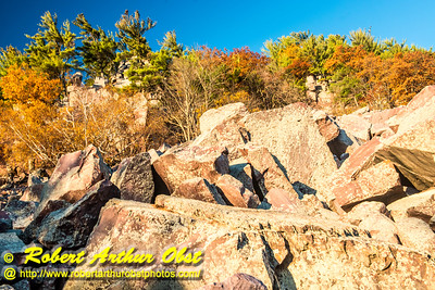 """""""Hiker's view from the Balanced Rock and Ice Age Trails of Balanced Rock and the east bluff within Devil's Lake State Park during autumn - Images from FAV or Favorite Obst Family OUTINGS within sixty miles or 60 MI or about an hour drive of the Madison and Middleton areas within southern Wisconsin USA"""" (USA WI Baraboo; Obst FAV Photos Nikon D800 Daily Best Obst Image 4487)"""