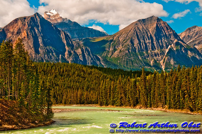View from Icefields Parkway across Athabasca River towards Mount Fryatt within Jasper National Park (Canada Alberta Jasper)