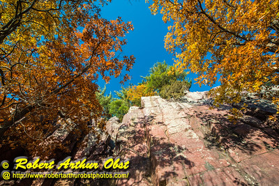"""""""Rock climber's and hiker's vertical view from the Balanced Rock and Ice Age Trails of Devil's Lake State Park's east bluff cliffs during autumn - Images from FAV or Favorite Obst Family OUTINGS within sixty miles or 60 MI or about an hour drive of the Madison and Middleton areas within southern Wisconsin USA"""" (USA WI Baraboo; Obst FAV Photos Nikon D800 Daily Best Obst Image 4424)"""