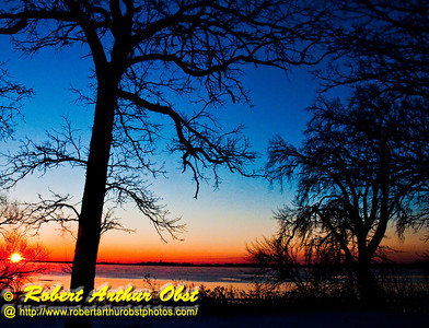 Crimson sunrise over Lake Mendota and WI State Capitol of Madison from Governor Nelson State Park (USA WI Waunakee)