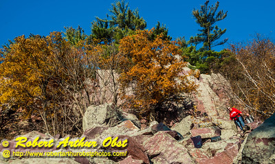 """""""Wisconsin hiker's view from the Balanced Rock and Ice Age Trails of Devil's Lake State Park's east bluff during autumn - Images from FAV or Favorite Obst Family OUTINGS within sixty miles or 60 MI or about an hour drive of the Madison and Middleton areas within southern Wisconsin USA"""" (USA WI Baraboo; Obst FAV Photos Nikon D800 Daily Best Obst Image 4404)"""
