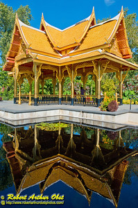 Reflections of the Thai Pavilion under gorgeous cerulean skies within Olbrich Botanical Gardens (USA WI Madison; RAO Image 6195)
