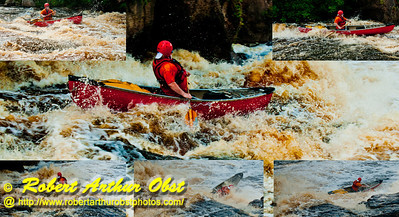 Photo collage of Bob Obst open canoeing sweet route over Big Smokey Falls at 744 CFS on the wild Wolf River Section 4 within Menominee Indian Nation or Menominee County (USA WI Keshena)
