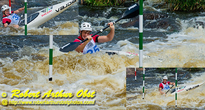 Photo collage of facial contortions of Kayak men Junior Daniel WATKINS of Australia while negotiating gate 9 and positioning for gate 10 during the finals of the 2012 ICF Canoe Slalom Junior and U23 World Championships (USA WI Wausau)