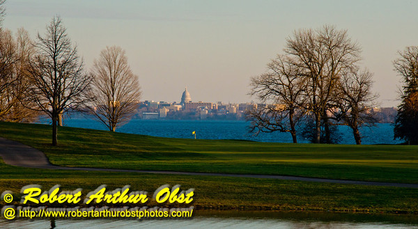 Golfer's and walker's view across the Bishops Bay golf greens and Lake Mendota to the state of Wisconsin capital of Madison (USA WI Middleton; RAO 2012 Nikon D800 Image 6760)