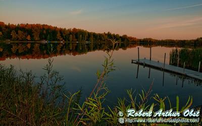 Autumn reflections at sunset over Mueller Lake within northeastern Wisconsin near Polar (USA WI Polar)