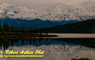 Beautiful reflections of Denali or Mount McKinley and its forests in Wonder Lake within Denali National Park (USA Alaska Denali Park)