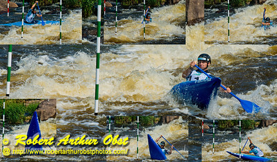 Photo collage of solo canoe men under 23 Patrik GAJARSKY of Slovakia recovering dramatically after nearly back-endering his canoe as he approaches gate 10 during the finals of the 2012 ICF Canoe Slalom Junior and U23 World Championships (USA WI Wausau)
