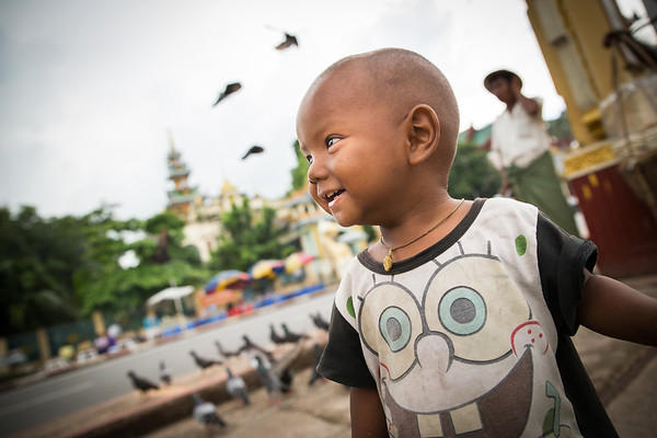 Young boy posing for my camera in Yangoon