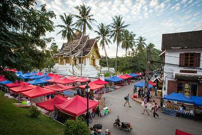 Setting up the night market in Luang Prabang
