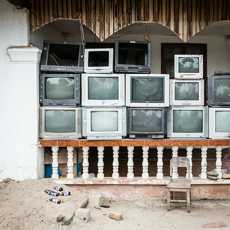 A wall of TV's in Luang Prabang