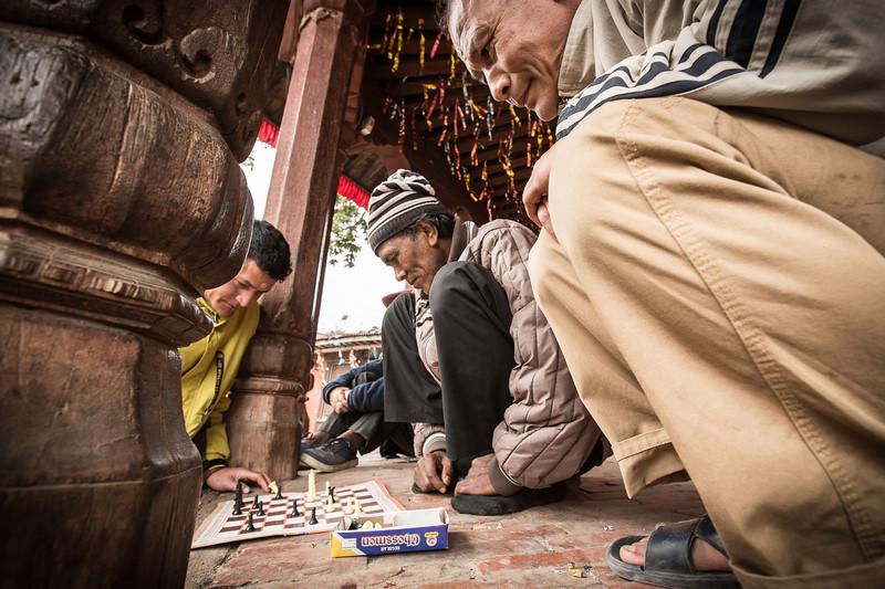 Playing chess in Durbar Square - Kathmandu