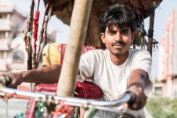 Bicycle rickshaw driver in Damak
