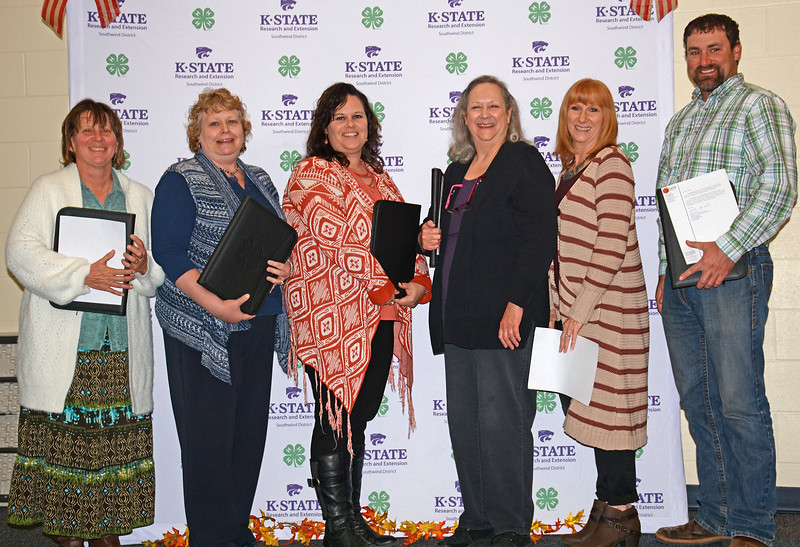 Receiving purple seals for their clubs are, from left, Becky Miewes, Brenda Armstrong, Kim Schomaker, Terri Kretzmeier,  Michelle Umholtz, and Robbie Grisier.