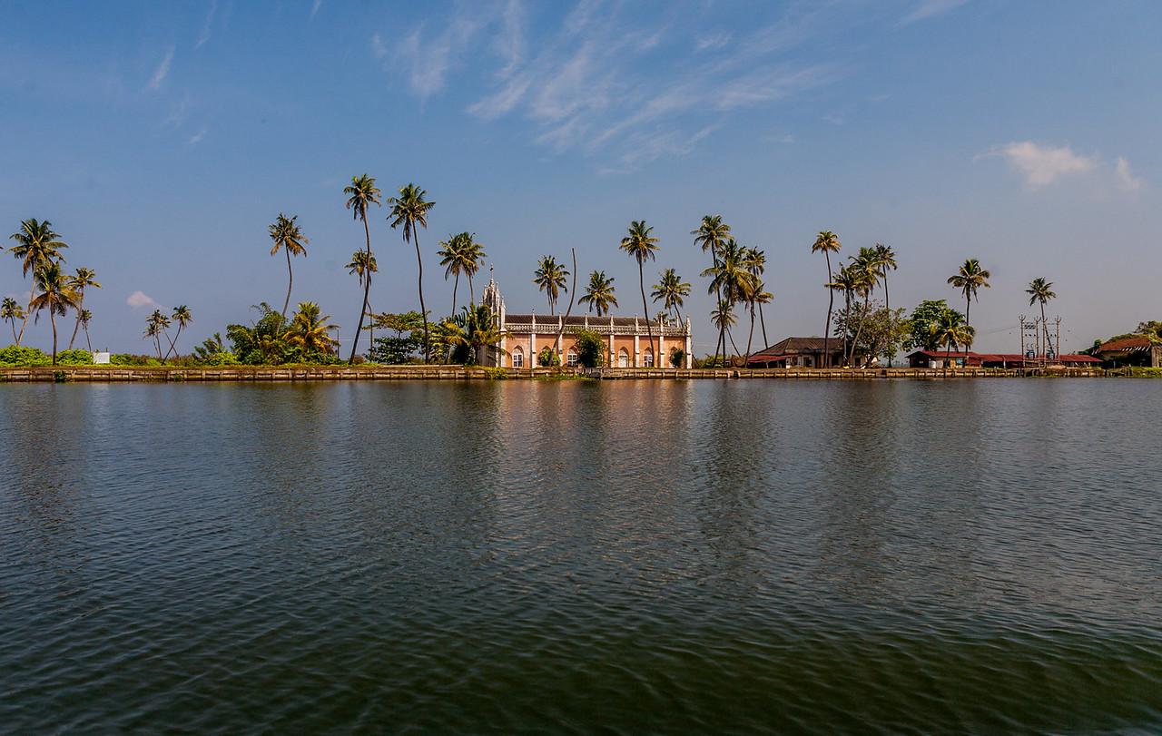 Church at Alleppey backwaters, Kerala, India