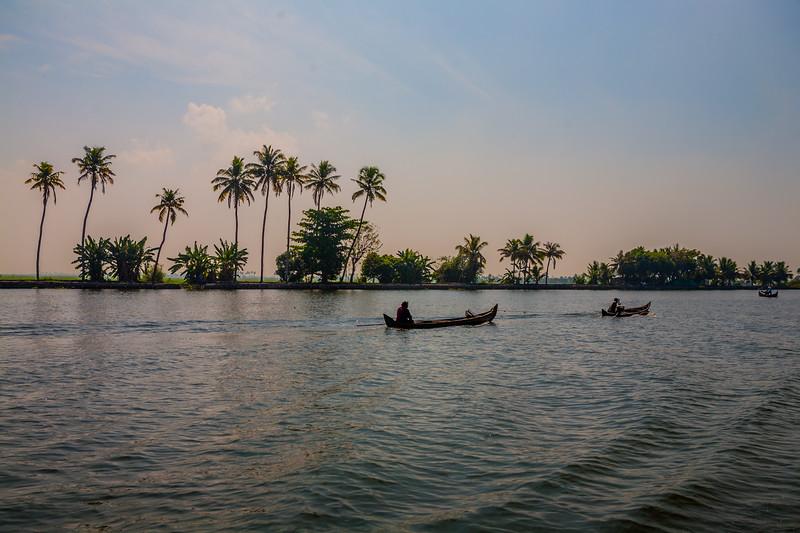 Local fishermen in Alleppey backwaters, Kerala, India