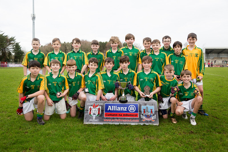 EEjob 13/11/2017 SPORT Allianz Sciath na Scol Finals at Páirc Uí Rinn. Glogheen v Ballintemple. Pictured, the Ballinatemple  team after winning their final against Clogheen. Picture: Andy Jay