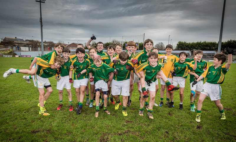 EEjob 13/11/2017 SPORT Allianz Sciath na Scol Finals at Páirc Uí Rinn. Glogheen v Ballintemple. Ballinatemple celebrate as they come off pitch after victory in their final against Clogheen in the Allianz Sciath na Scol Finals at Páirc Uí Rinn. Picture: Andy Jay