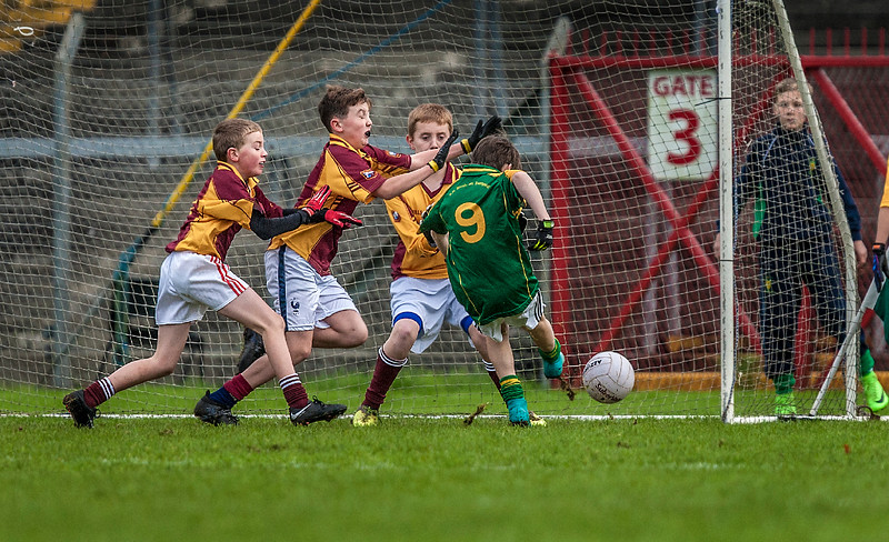 EEjob 13/11/2017 SPORT Allianz Sciath na Scol Finals at Páirc Uí Rinn. Glogheen v Ballintemple. Liam Tuohy prepares to bury the ball into the back of the net for Ballintemple during their final against Clogheen. Picture: Andy Jay