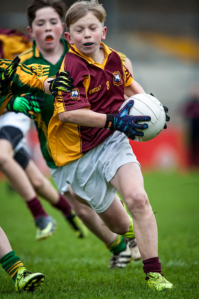 EEjob 13/11/2017 SPORT Allianz Sciath na Scol Finals at Páirc Uí Rinn. Glogheen v Ballintemple.  Ben Lucey Glogheen under pressure from Ballinatemple during Monday's finals at Páirc Uí Rinn. Picture: Andy Jay