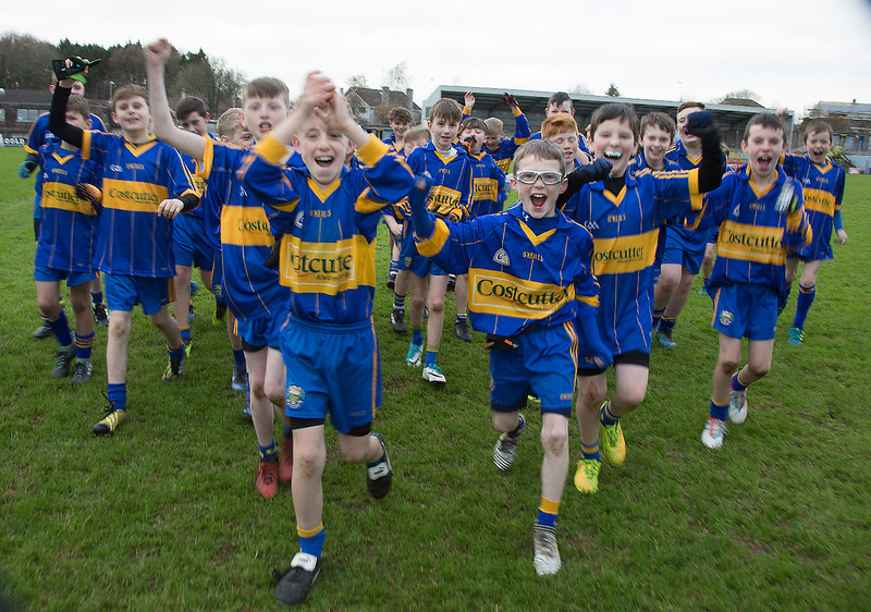 EEjob 13/11/2017 SPORT Allianz Sciath na Scol Finals at Páirc Uí Rinn. Rathduff v GS tSaile Rathduff supporters. Rathduff celebrate as they come off field.  Picture: Andy Jay