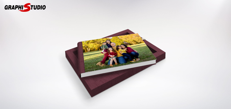 Album Cover Linen Burgundy with White Ribbon View 1