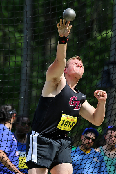 Groton Dunstable Regional High School senior shot putter Sam Furman competes during the All State Meet at Elliot Field Athletic Complex at Fitchburg State University on Saturday, June 2, 2018. SENTINEL & ENTERPRISE/JOHN LOVE