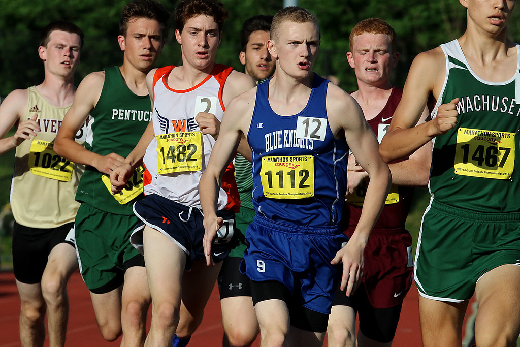 . The first lap of the boys mile during the All State Meet at Elliot Field Athletic Complex at Fitchburg State University on Saturday, June 2, 2018. Center is Lunenburg Middle High School senior Chris McCauliff. SENTINEL & ENTERPRISE/JOHN LOVE