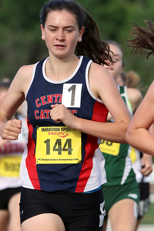 . Central Catholic High School senior Sarah Freeman competes in the mile during the All State Meet at Elliot Field Athletic Complex at Fitchburg State University on Saturday, June 2, 2018. SENTINEL & ENTERPRISE/JOHN LOVE