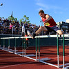 Tewksbury Memorial High School sophomore Zach Lalonde competes in the 100 hurdles during the All State Meet at Elliot Field Athletic Complex at Fitchburg State University on Saturday, June 2, 2018. SENTINEL & ENTERPRISE/JOHN LOVE