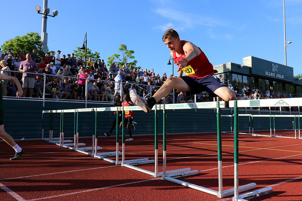 . Tewksbury Memorial High School sophomore Zach Lalonde competes in the 100 hurdles during the All State Meet at Elliot Field Athletic Complex at Fitchburg State University on Saturday, June 2, 2018. SENTINEL & ENTERPRISE/JOHN LOVE