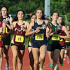 Littleton Junior Sarah Roffman lead the pack in the girls mile during the All State Meet at Elliot Field Athletic Complex at Fitchburg State University on Saturday, June 2, 2018. SENTINEL & ENTERPRISE/JOHN LOVE