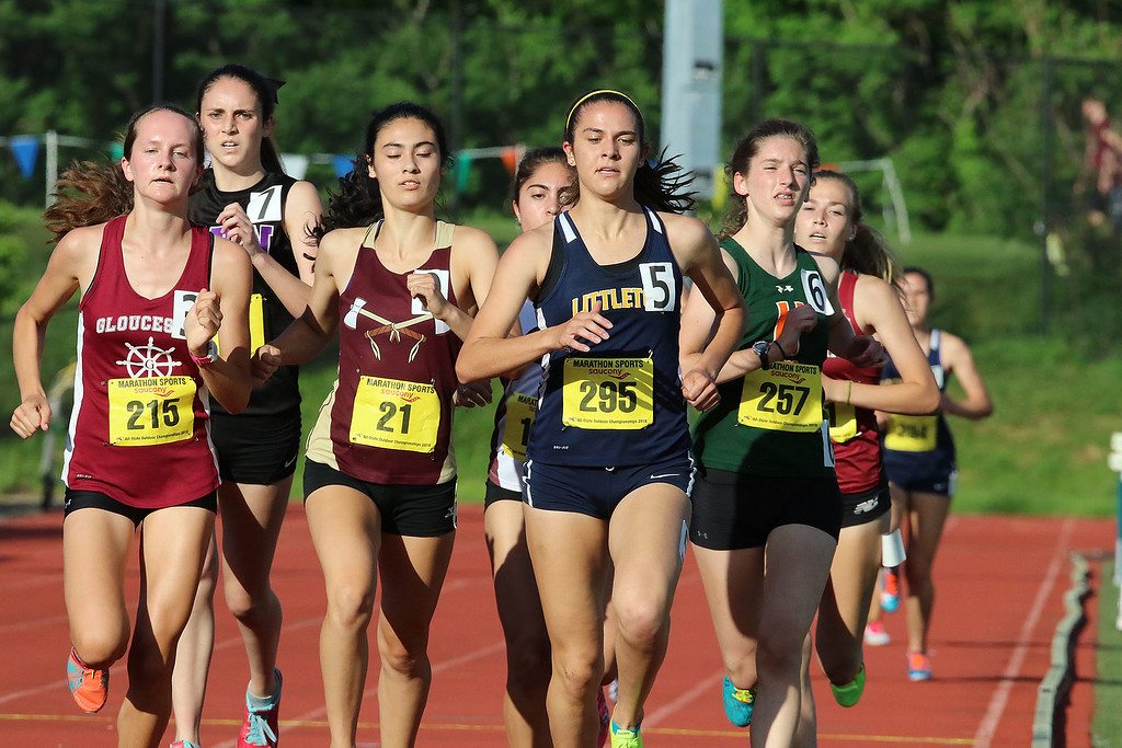 . Littleton Junior Sarah Roffman lead the pack in the girls mile during the All State Meet at Elliot Field Athletic Complex at Fitchburg State University on Saturday, June 2, 2018. SENTINEL & ENTERPRISE/JOHN LOVE