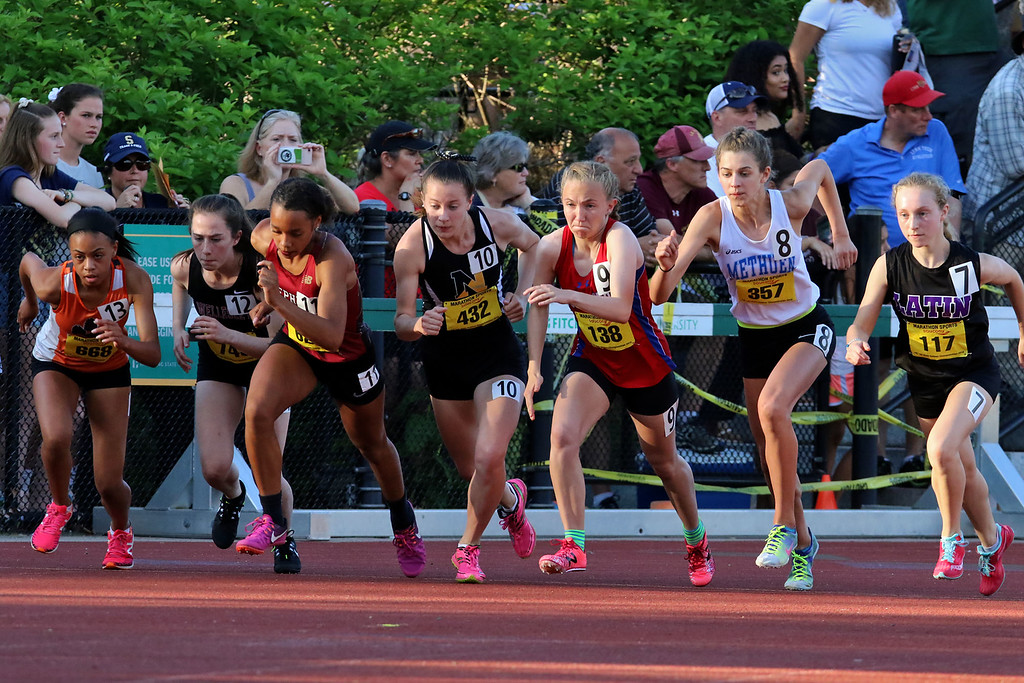 . Start of the girls 800 during the All State Meet at Elliot Field Athletic Complex at Fitchburg State University on Saturday, June 2, 2018. SENTINEL & ENTERPRISE/JOHN LOVE