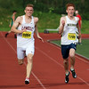 Lowell High School senior Nick Nicholas Czelewicz competes in the 200 during the All State Meet at Elliot Field Athletic Complex at Fitchburg State University on Saturday, June 2, 2018. Next to him is Needham junior Tommy Jordan. SENTINEL & ENTERPRISE/JOHN LOVE
