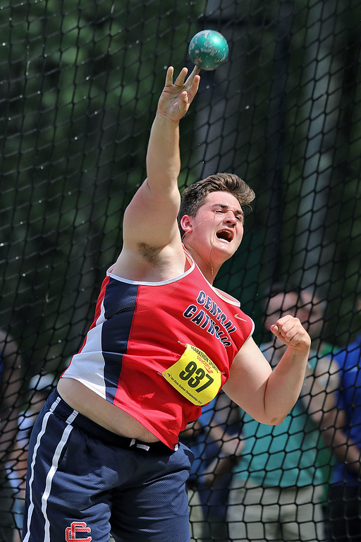 . Central Catholic High School senior Ryan Burns competes in the shot putt during the All State Meet at Elliot Field Athletic Complex at Fitchburg State University on Saturday, June 2, 2018. SENTINEL & ENTERPRISE/JOHN LOVE