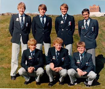 Efri röð: Sigurður Pétursson GR, Sveinn Sigurbrgsson GK,  Gunnlaugur Jóhannsson NK, Stefán Stefánsson GSÍ.  Fremri röð: Gylfi Kristinsson GS, Magnús Jónsson GS, Sigurður Sigurðsson GS.